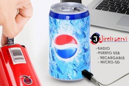 ¡Escucha música con Estilo! Paga RD$279 en vez de RD$900 por Bocina Portátil en forma de Lata de Coca Cola, Pepsi, Sprite o Heineken: USB, MP3, MicroSD, Batería de Litio Recargable en Jireh Servi.