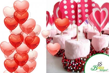 ¡Llegó San Valentín! Aprovecha y Paga  RD$750 en vez de RD$1,650 por 8 Marshmallow con Fondant  y Grajeas con decoración + Tissue en caja + 2 Globos Latex 12 pulgadas con Helio + Tarjeta en Breliz Basquet.