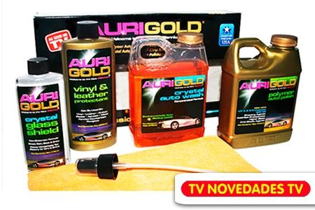 ¡Brillo y cuidados para tu vehículo! Paga RD$425 en vez de RD$1,300 por Kit Auri Gold que incluye: Polímero de Auto Brillo + Limpiador de parabrisas + Protector de Vinil y Cuero + Protector para Cristales + Paño de pulido en TV Novedades TV.
