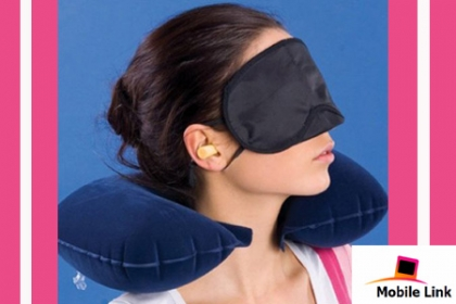 ¡Ponte cómoda donde quiera que estés! Paga RD$200 en vez de RD$500 por Kit 3 en 1 De Cojín para el cuello + Antifaz para ojos + Tapones para oídos.