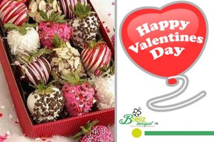¡El Detalle Perfecto Para San Valentín!  Aprovecha y Paga  RD$1,550 en vez de RD$3,850 por Caja con 8 Fresas Importadas con Fondant +  Grajeas + Coco y Almendras + 2 Globos Latex 12