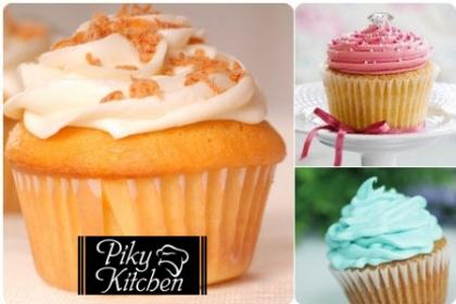 Aprovecha y paga RD$295 en vez de RD$600 por 12 Cupcakes de Vainilla con Suspiro, relleno de Dulce de Leche, Crema Pastelera ó Mermelada en Piky Kitchen.