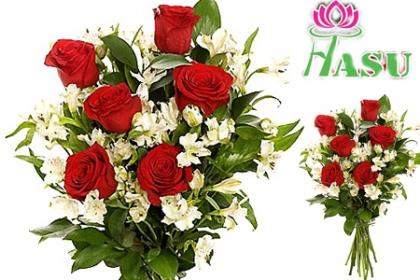 Â¡Sorprendel@ con Rosas! Paga RD$225 en vez de RD$600 por Arreglo Floral de 6 Rosas + Alstroemeria + Relleno + Tarjeta en Flores Hasu.