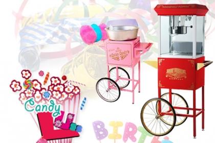 ¡Paquete perfecto para el Cumpleaños! Paga RD$790 en vez de RD$2,000 por Alquiler de Máquina de Pop Corn ó Alquiler de Máquina de Algodón, 100 unidades c/u + Operador Uniformado + Transporte en Candy Lúss.