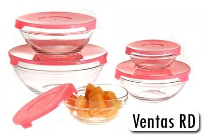 ¡Conserva tus Alimentos por más tiempo! Paga RD$249 en vez de RD$549 por Set de 5 Bowls (contenedores) de Cristal con tapa Plástica en Ventas RD ¡Oferta Limitada!