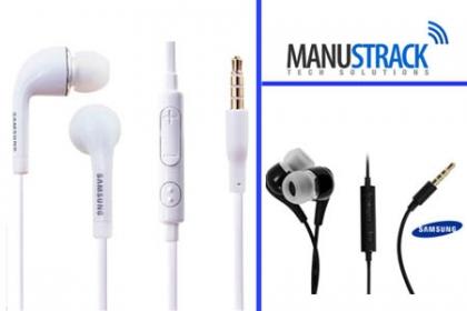 ¡Sonido de Alta Calidad! Paga RD$299 en vez de RD$750 por 2 Audífonos (handsfree) Samsung, colores disponibles: blanco y negro en ManusTrack.