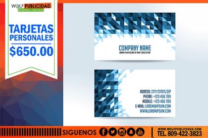¡Imprime tus tarjetas ya! Paga RD$650 en vez de RD$1,100 por Impresión de 500 Tarjetas de presentación en Wolf Publicidad.